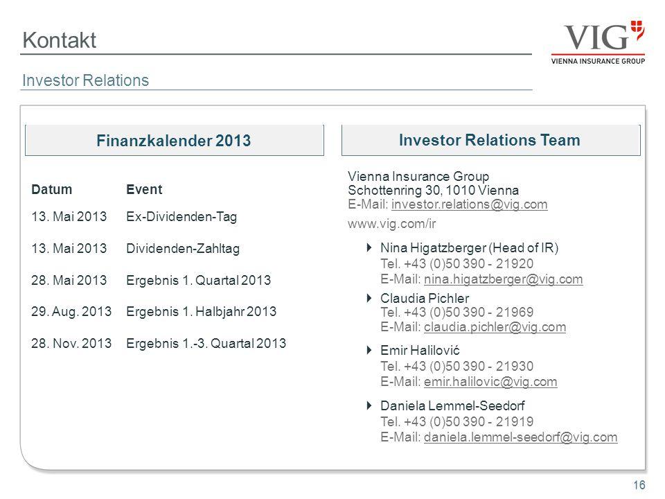 16 Kontakt 16 Investor Relations Vienna Insurance Group Schottenring 30, 1010 Vienna E-Mail: investor.relations@vig.com www.vig.com/ir Nina Higatzberg