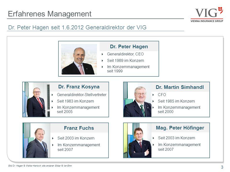 3 Erfahrenes Management 3 Dr. Peter Hagen seit 1.6.2012 Generaldirektor der VIG Dr. Peter Hagen Generaldirektor, CEO Seit 1989 im Konzern Im Konzernma
