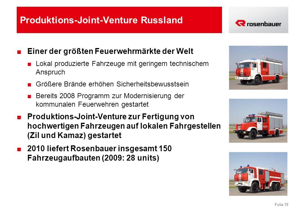 Folie 19 Produktions-Joint-Venture Russland Einer der größten Feuerwehrmärkte der Welt Lokal produzierte Fahrzeuge mit geringem technischem Anspruch G