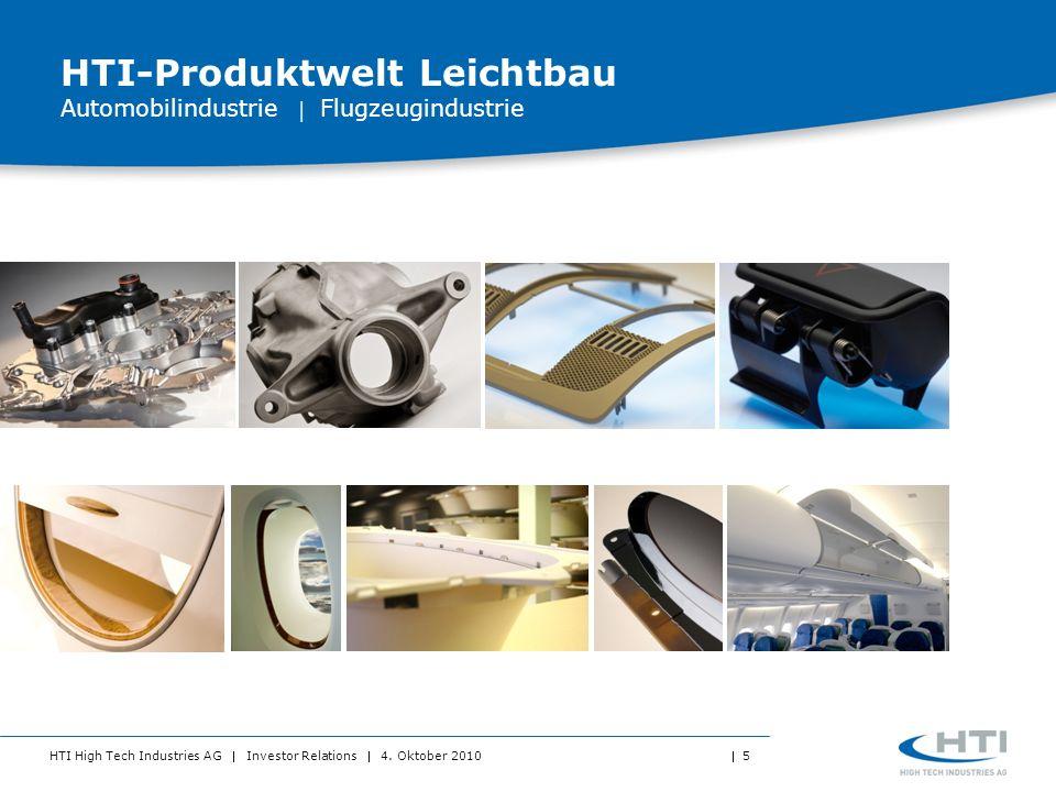 HTI High Tech Industries AG Investor Relations 4. Oktober 2010 5 HTI-Produktwelt Leichtbau Automobilindustrie Flugzeugindustrie