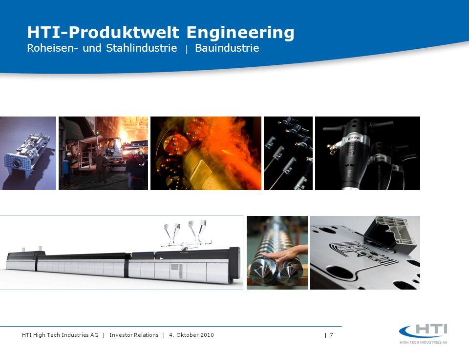 HTI High Tech Industries AG Investor Relations 4. Oktober 2010 7 HTI-Produktwelt Engineering Roheisen- und Stahlindustrie Bauindustrie