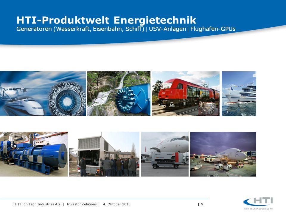 HTI High Tech Industries AG Investor Relations 4. Oktober 2010 9 HTI-Produktwelt Energietechnik Generatoren (Wasserkraft, Eisenbahn, Schiff) USV-Anlag