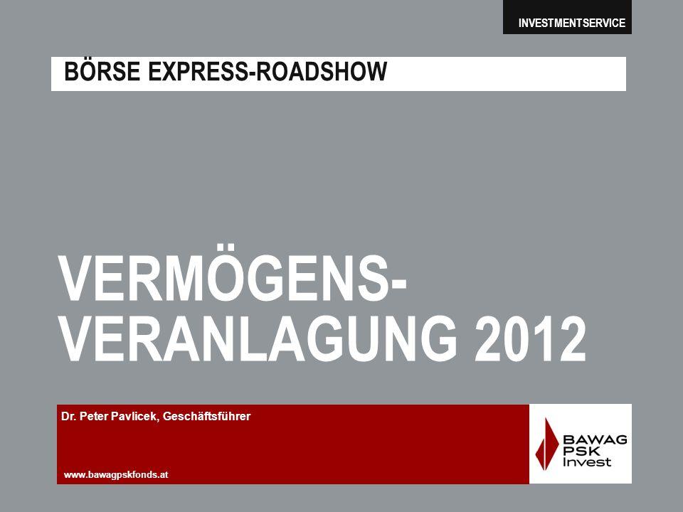 www.bawagpskfonds.at INVESTMENTSERVICE BÖRSE EXPRESS-ROADSHOW VERMÖGENS- VERANLAGUNG 2012 Dr. Peter Pavlicek, Geschäftsführer