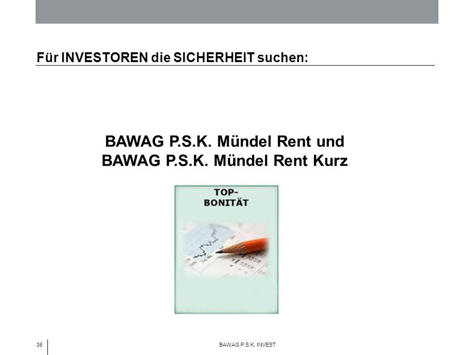 38 BAWAG P.S.K. INVEST BAWAG P.S.K. Mündel Rent und BAWAG P.S.K. Mündel Rent Kurz Für INVESTOREN die SICHERHEIT suchen: