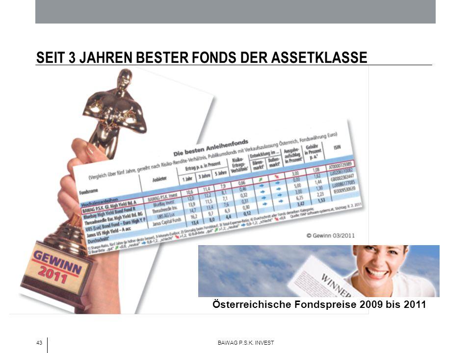 43 BAWAG P.S.K. INVEST SEIT 3 JAHREN BESTER FONDS DER ASSETKLASSE Österreichische Fondspreise 2009 bis 2011