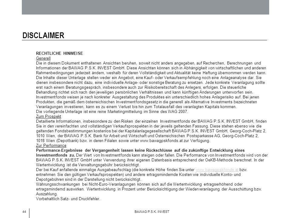 44 BAWAG P.S.K. INVEST DISCLAIMER RECHTLICHE HINWEISE Generell Die in diesem Dokument enthaltenen Ansichten beruhen, soweit nicht anders angegeben, au