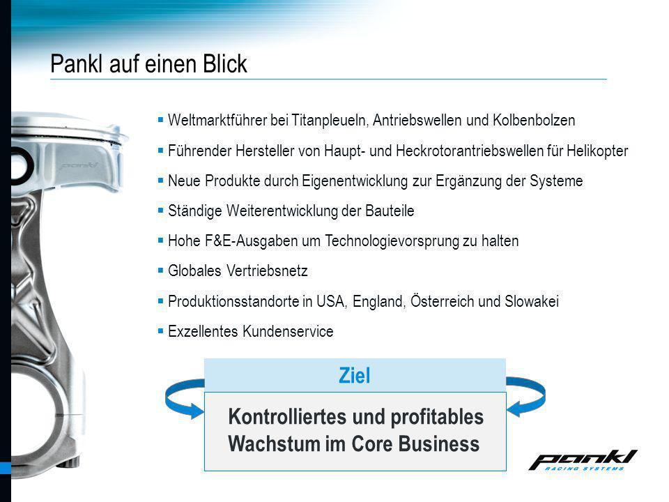 Pankl Racing Systems AG Pankl auf einen Blick Weltmarktführer bei Titanpleueln, Antriebswellen und Kolbenbolzen Führender Hersteller von Haupt- und He