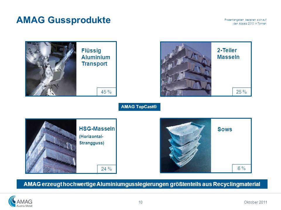 AMAG Gussprodukte Flüssig Aluminium Transport HSG-Masseln (Horizontal- Strangguss) 2-Teiler Masseln Sows 45 % Prozentangaben beziehen sich auf den Abs