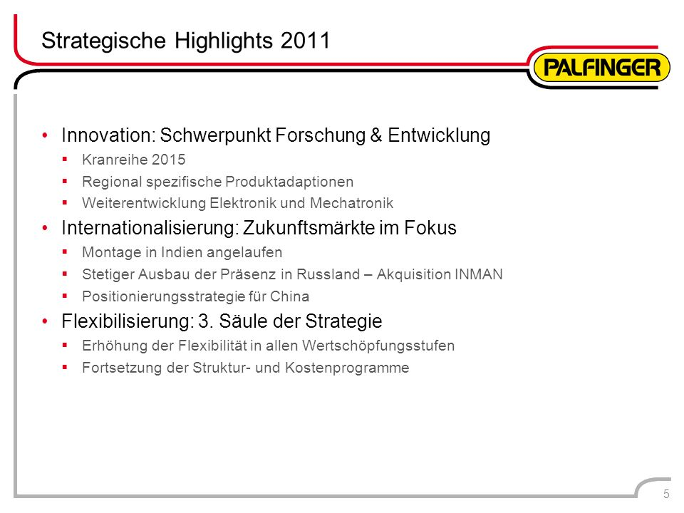 Strategische Highlights 2011 Innovation: Schwerpunkt Forschung & Entwicklung Kranreihe 2015 Regional spezifische Produktadaptionen Weiterentwicklung E