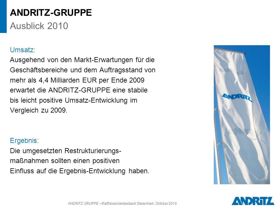 ANDRITZ GRUPPE –Raiffeisenlandesbank Steiermark, Oktober 2010 Umsatz: Ausgehend von den Markt-Erwartungen für die Geschäftsbereiche und dem Auftragsstand von mehr als 4,4 Milliarden EUR per Ende 2009 erwartet die ANDRITZ-GRUPPE eine stabile bis leicht positive Umsatz-Entwicklung im Vergleich zu 2009.