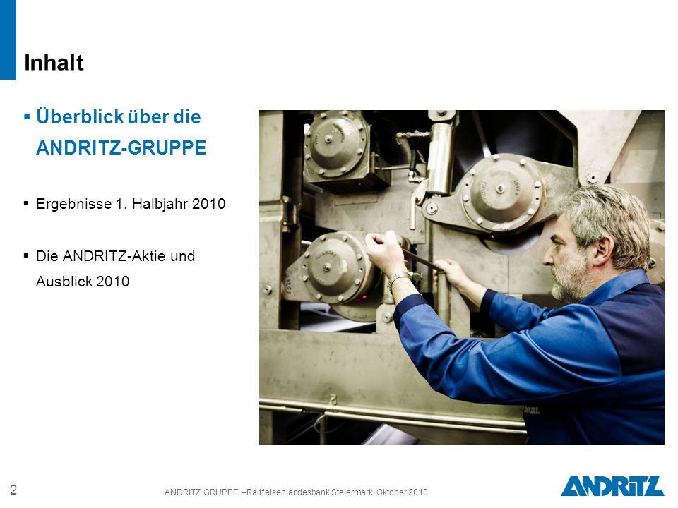 2 ANDRITZ GRUPPE –Raiffeisenlandesbank Steiermark, Oktober 2010 Überblick über die ANDRITZ-GRUPPE Ergebnisse 1.
