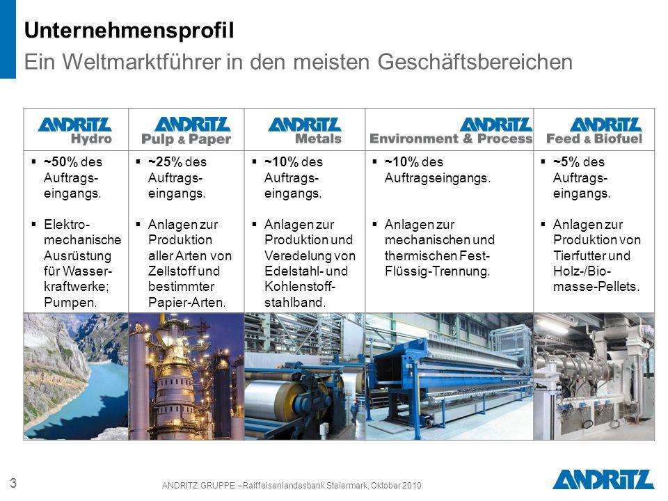 3 ANDRITZ GRUPPE –Raiffeisenlandesbank Steiermark, Oktober 2010 ~50% des Auftrags- eingangs.