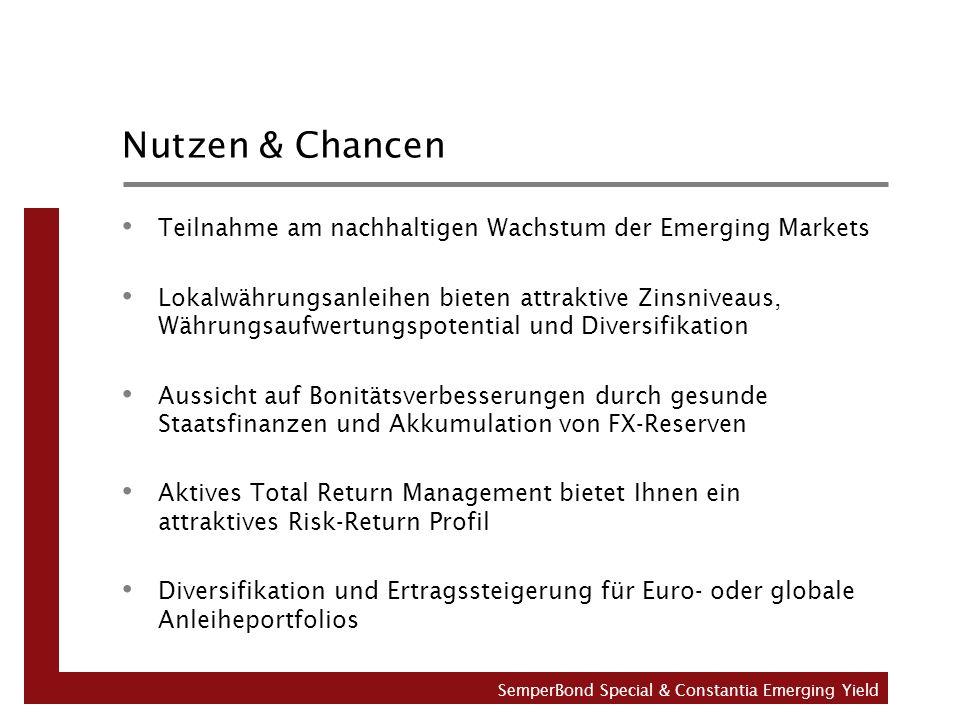 Nutzen & Chancen Teilnahme am nachhaltigen Wachstum der Emerging Markets Lokalwährungsanleihen bieten attraktive Zinsniveaus, Währungsaufwertungspotential und Diversifikation Aussicht auf Bonitätsverbesserungen durch gesunde Staatsfinanzen und Akkumulation von FX-Reserven Aktives Total Return Management bietet Ihnen ein attraktives Risk-Return Profil Diversifikation und Ertragssteigerung für Euro- oder globale Anleiheportfolios SemperBond Special & Constantia Emerging Yield