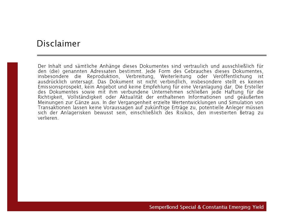 Disclaimer Der Inhalt und sämtliche Anhänge dieses Dokumentes sind vertraulich und ausschließlich für den (die) genannten Adressaten bestimmt.