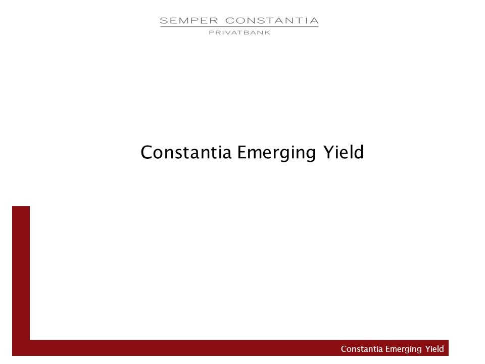 Aktuelle Asset Allocation – Em.Yield Constantia Emerging Yield