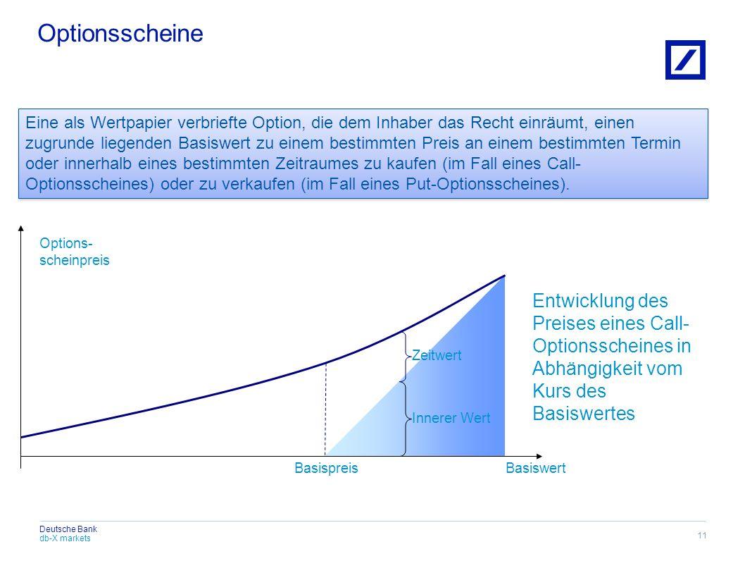 db-X markets Deutsche Bank Eine als Wertpapier verbriefte Option, die dem Inhaber das Recht einräumt, einen zugrunde liegenden Basiswert zu einem best