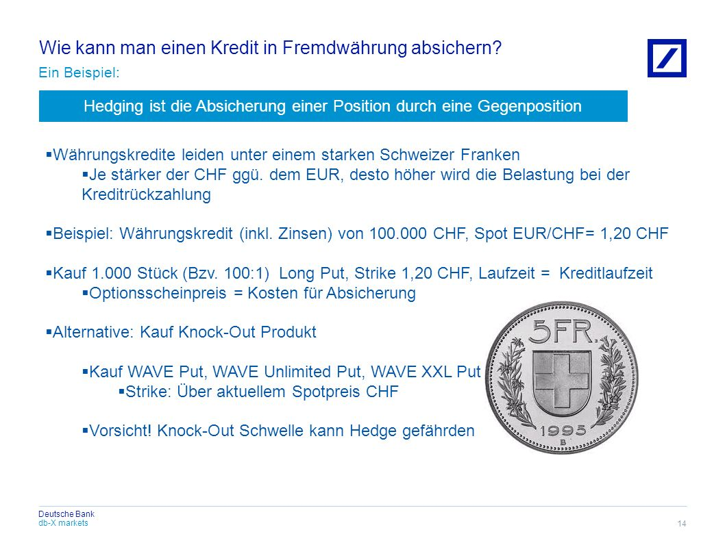 db-X markets Deutsche Bank Wie kann man einen Kredit in Fremdwährung absichern? Ein Beispiel: 14 Währungskredite leiden unter einem starken Schweizer