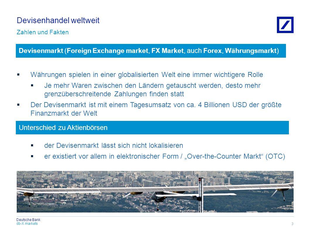 db-X markets Deutsche Bank Devisenhandel weltweit Zahlen und Fakten Währungen spielen in einer globalisierten Welt eine immer wichtigere Rolle Je mehr