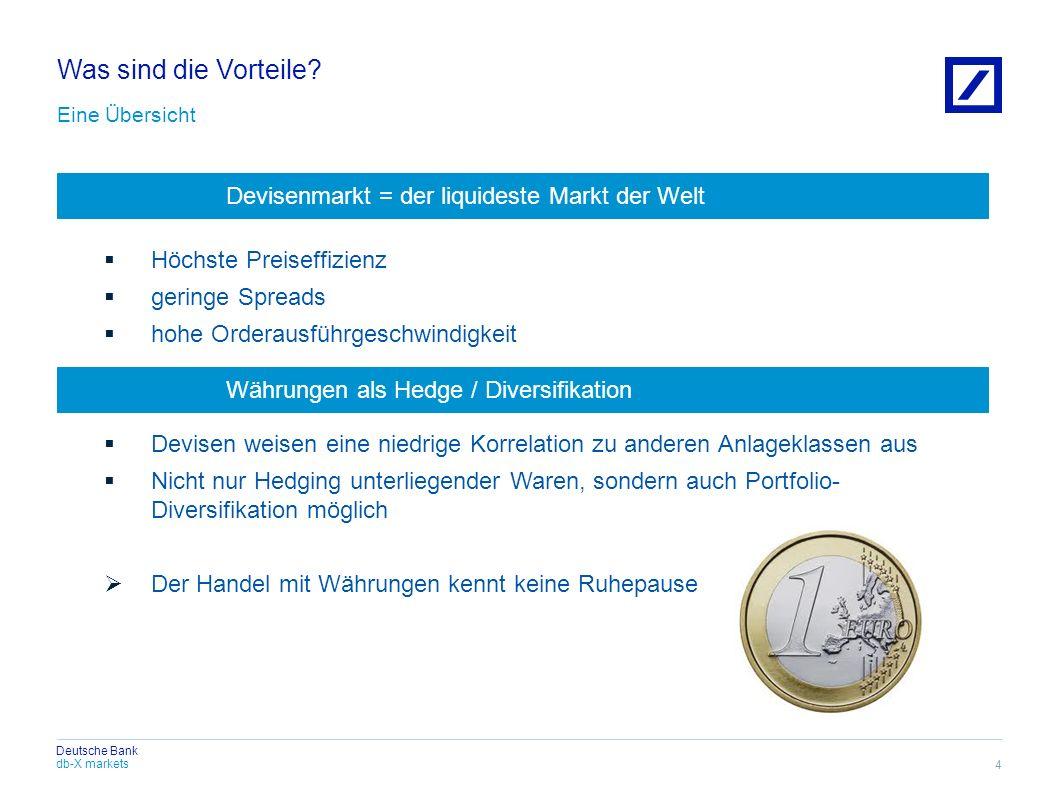 db-X markets Deutsche Bank Was sind die Vorteile? Eine Übersicht Höchste Preiseffizienz geringe Spreads hohe Orderausführgeschwindigkeit Devisen weise