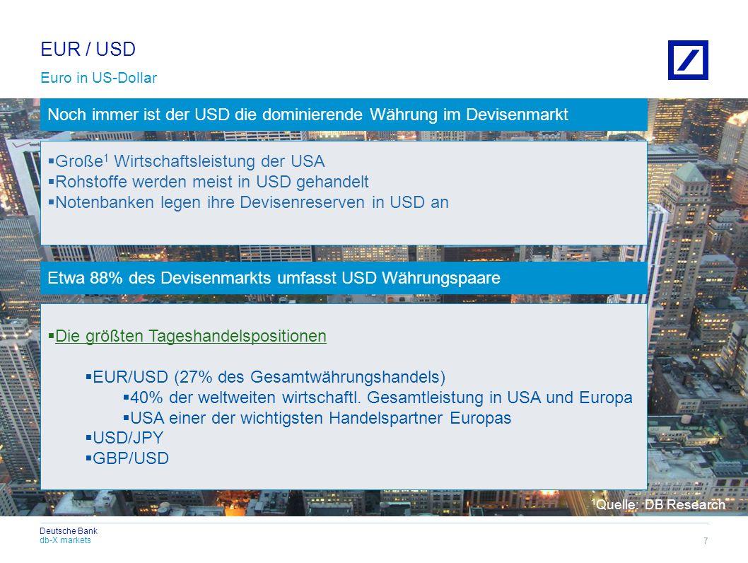 db-X markets Deutsche Bank In den letzten Monaten stagniert der USD im Vergleich zum EUR 8 Die Schuldenkrise in Europa belastet den EUR Das schwache Wachstum in den USA schwächt den USD Eine klare Tendenz bleibt momentan aus EUR / USD
