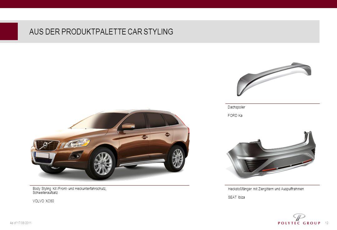 As of 17/06/2011 12 AUS DER PRODUKTPALETTE CAR STYLING Dachspoiler FORD Ka Heckstoßfänger mit Ziergittern und Auspuffrahmen SEAT Ibiza Body Styling Ki