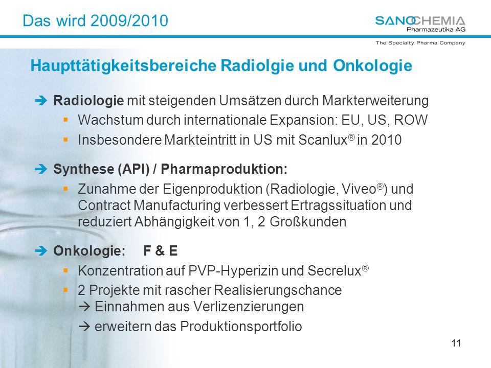 11 Das wird 2009/2010 Radiologie mit steigenden Umsätzen durch Markterweiterung Wachstum durch internationale Expansion: EU, US, ROW Insbesondere Mark