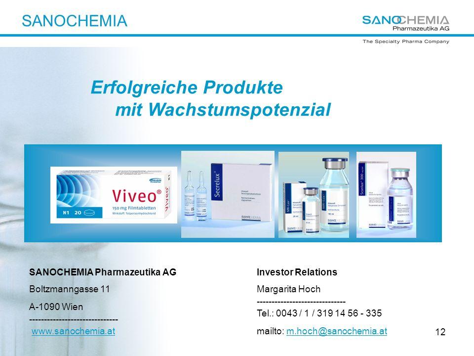 12 Investor Relations Margarita Hoch ------------------------------ Tel.: 0043 / 1 / 319 14 56 - 335 mailto: m.hoch@sanochemia.at SANOCHEMIA Pharmazeu