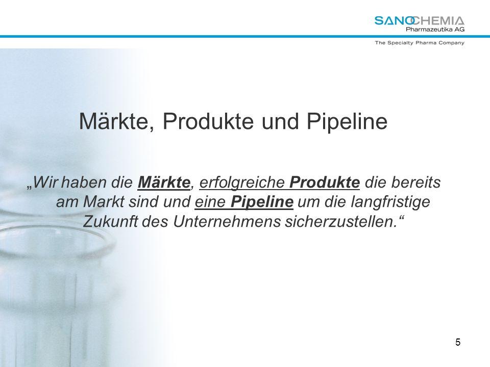 5 Märkte, Produkte und Pipeline Wir haben die Märkte, erfolgreiche Produkte die bereits am Markt sind und eine Pipeline um die langfristige Zukunft de