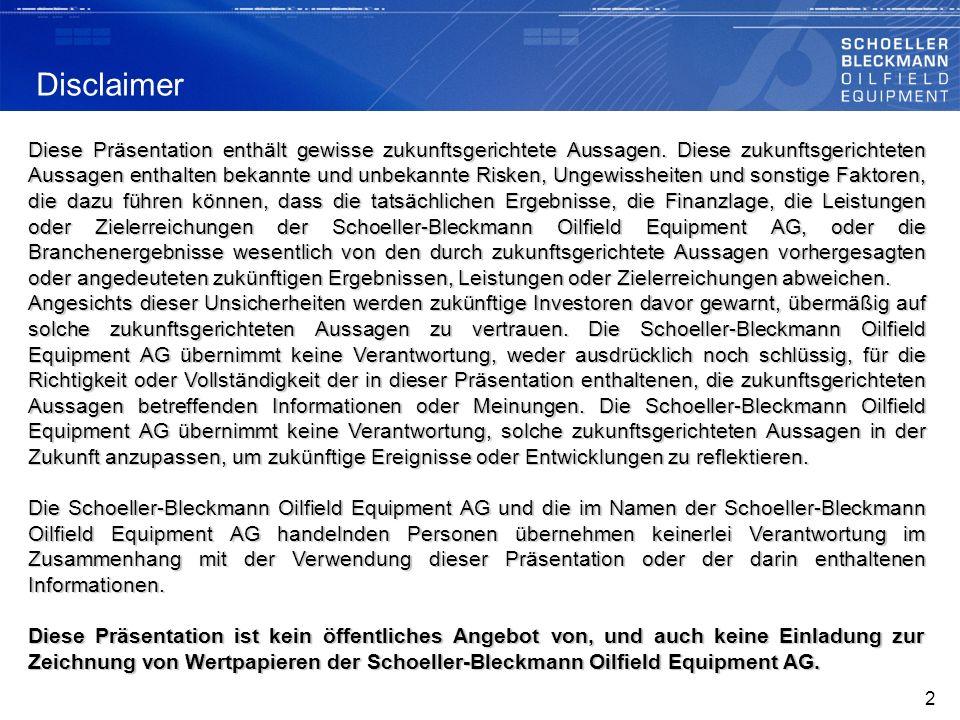 SchoellerBleckmann Oilfield Equipment AG (SBO) ist Weltmarktführer bei Hochpräzisionsteilen für die Oilfield ServiceIndustrie.