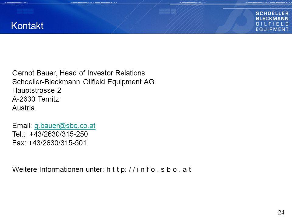 Kontakt Gernot Bauer, Head of Investor Relations Schoeller-Bleckmann Oilfield Equipment AG Hauptstrasse 2 A-2630 Ternitz Austria Email: g.bauer@sbo.co.atg.bauer@sbo.co.at Tel.: +43/2630/315-250 Fax: +43/2630/315-501 Weitere Informationen unter: h t t p: / / i n f o.