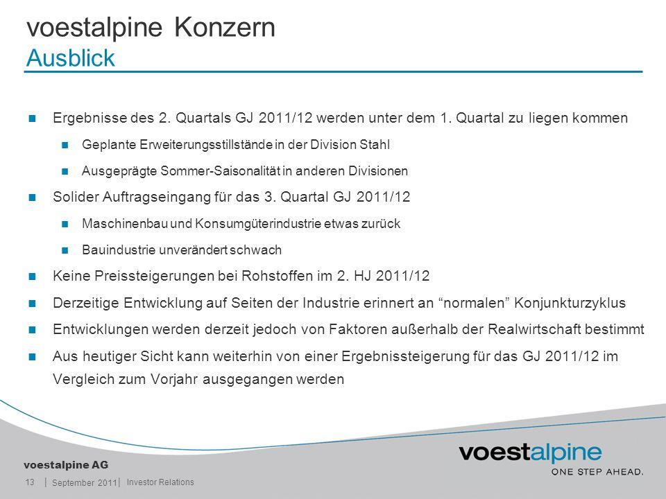 || voestalpine AG September 2011 13Investor Relations voestalpine Konzern Ausblick Ergebnisse des 2. Quartals GJ 2011/12 werden unter dem 1. Quartal z