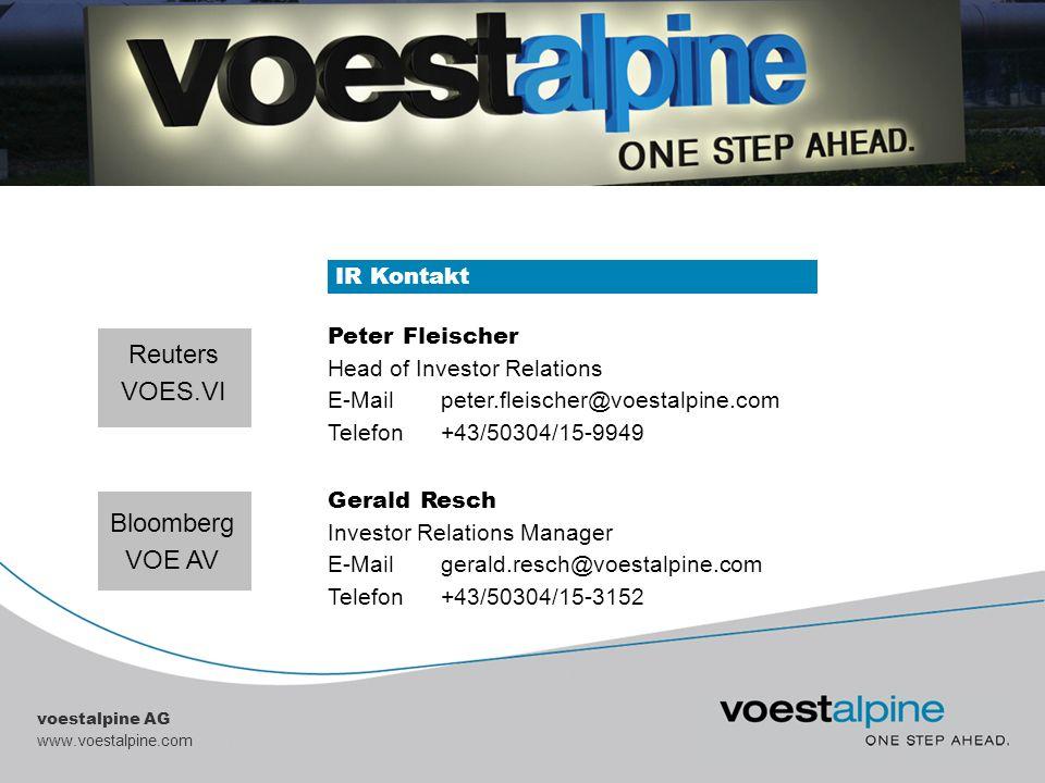 voestalpine AG www.voestalpine.com IR Kontakt Peter Fleischer Head of Investor Relations E-Mailpeter.fleischer@voestalpine.com Telefon+43/50304/15-994