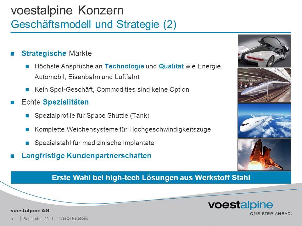 || voestalpine AG September 2011 3Investor Relations voestalpine Konzern Geschäftsmodell und Strategie (2) Strategische Märkte Höchste Ansprüche an Te