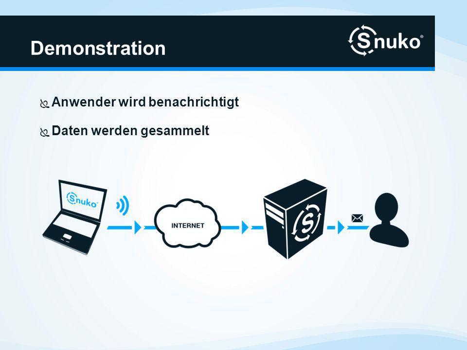Demonstration Anwender wird benachrichtigt Daten werden gesammelt