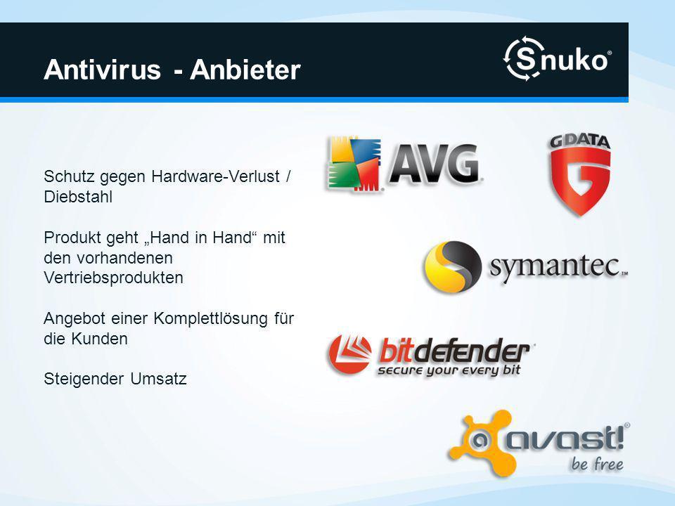 Antivirus - Anbieter Schutz gegen Hardware-Verlust / Diebstahl Produkt geht Hand in Hand mit den vorhandenen Vertriebsprodukten Angebot einer Komplettlösung für die Kunden Steigender Umsatz