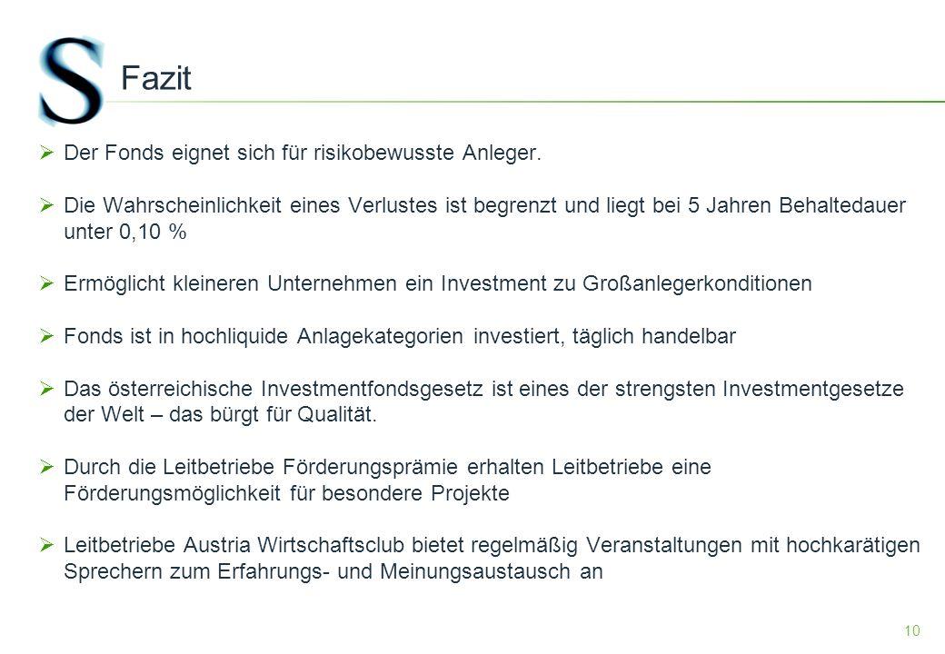 10 Fazit Der Fonds eignet sich für risikobewusste Anleger.