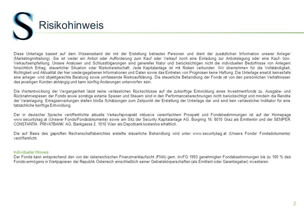 13 Bondportfolio österreichische Anleihen ISINKuponNameFWRenditeAnteil FV AT00003853565,00%5.00 % Bund 15.07.2012EUR0,15%4,69% XS04120674893,63%3,625 % RAIFF ZENTRALBK OEST AG 05.02.2014EUR1,50%7,48% AT00003860734,30%4,3 % REPUBLIC OF AUSTRIA 15.07.14EUR0,78%7,72% AT00003861983,50%3,5 % REPUBLIC OF AUSTRIA 15.07.2015EUR1,14%1,90% AT0000A0GLY43,20%3,2 % REPUBLIC OF AUSTRIA 20.02.2017EUR1,78%4,16% AT0000A06P244,30%4.3 % REPUBLIC OF AUSTRIA 15.09.2017EUR1,99%4,44% AT00003857454,65%4,65 % REPUBLIC OF AUSTRIA 15.01.18EUR2,10%3,78% AT00003861153,90%3,9 % REPUBLIC OF AUSTRIA 15.07.20EUR2,68%2,80% AT0000A001X23,50%3,5 % REPUBLIC OF AUSTRIA 15.09.2021EUR2,82%6,98%