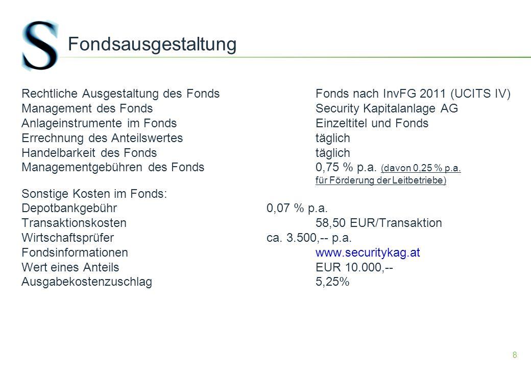 8 Fondsausgestaltung Rechtliche Ausgestaltung des FondsFonds nach InvFG 2011 (UCITS IV) Management des FondsSecurity Kapitalanlage AG Anlageinstrumente im FondsEinzeltitel und Fonds Errechnung des Anteilswertestäglich Handelbarkeit des Fondstäglich Managementgebühren des Fonds0,75 % p.a.