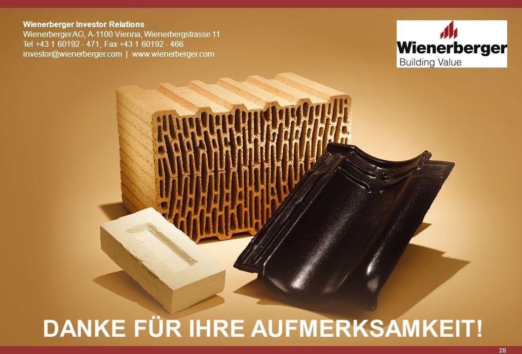 28 Wienerberger Investor Relations Wienerberger AG, A-1100 Vienna, Wienerbergstrasse 11 Tel +43 1 60192 - 471, Fax +43 1 60192 - 466 investor@wienerbe