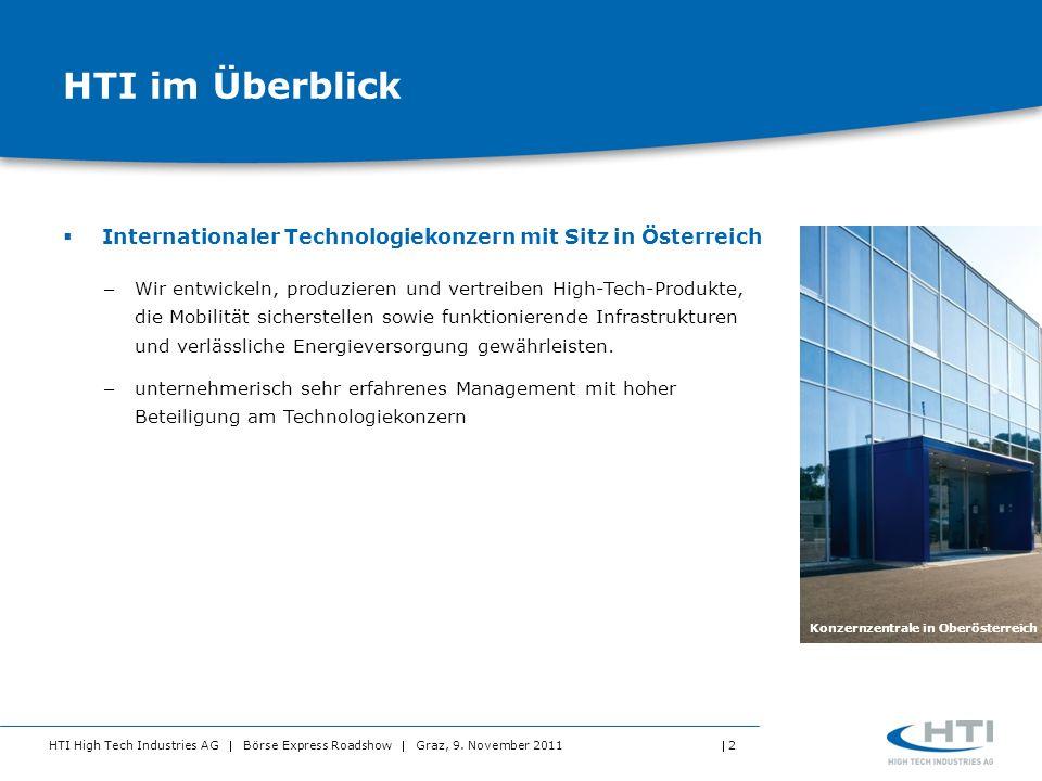 HTI High Tech Industries AG Börse Express Roadshow Graz, 9. November 2011 2 HTI im Überblick Internationaler Technologiekonzern mit Sitz in Österreich