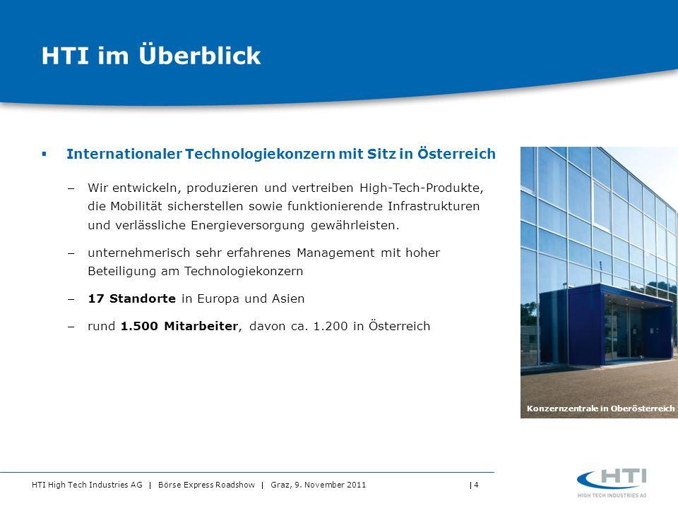 HTI High Tech Industries AG Börse Express Roadshow Graz, 9. November 2011 4 HTI im Überblick Internationaler Technologiekonzern mit Sitz in Österreich