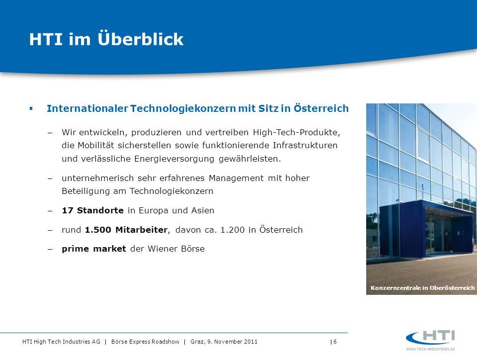 HTI High Tech Industries AG Börse Express Roadshow Graz, 9. November 2011 6 HTI im Überblick Internationaler Technologiekonzern mit Sitz in Österreich
