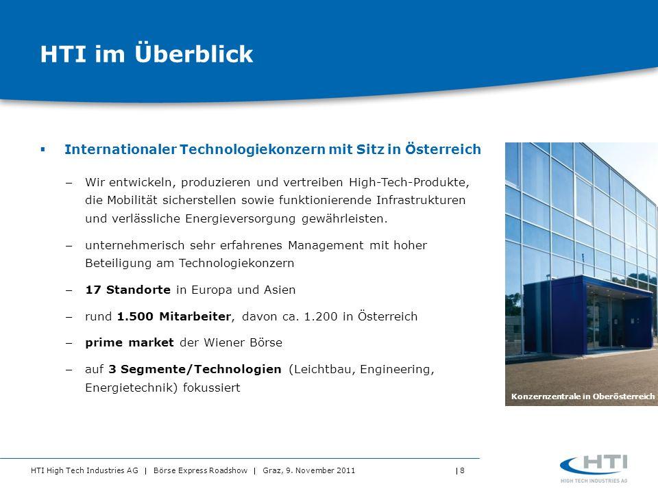 HTI High Tech Industries AG Börse Express Roadshow Graz, 9. November 2011 8 HTI im Überblick Internationaler Technologiekonzern mit Sitz in Österreich