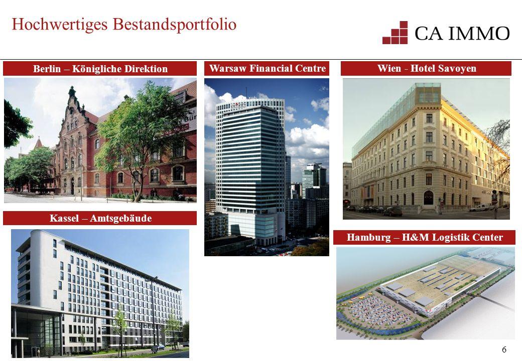 6 Hochwertiges Bestandsportfolio Berlin – Königliche Direktion Warsaw Financial CentreWien - Hotel Savoyen Hamburg – H&M Logistik Center Kassel – Amts