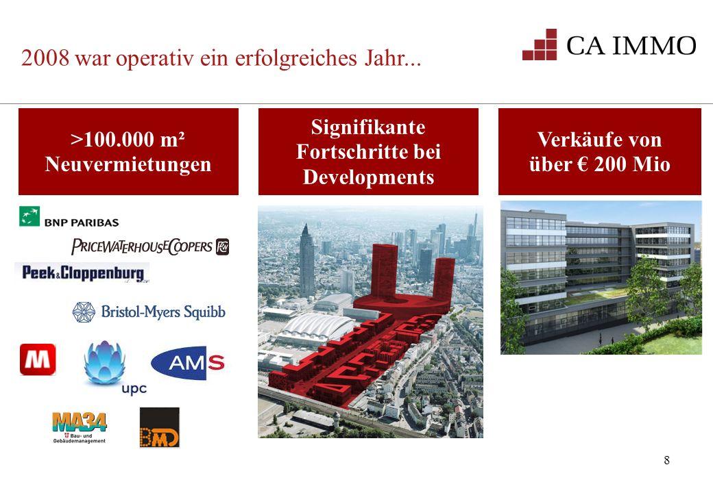 8 >100.000 m² Neuvermietungen Signifikante Fortschritte bei Developments 2008 war operativ ein erfolgreiches Jahr... Verkäufe von über 200 Mio