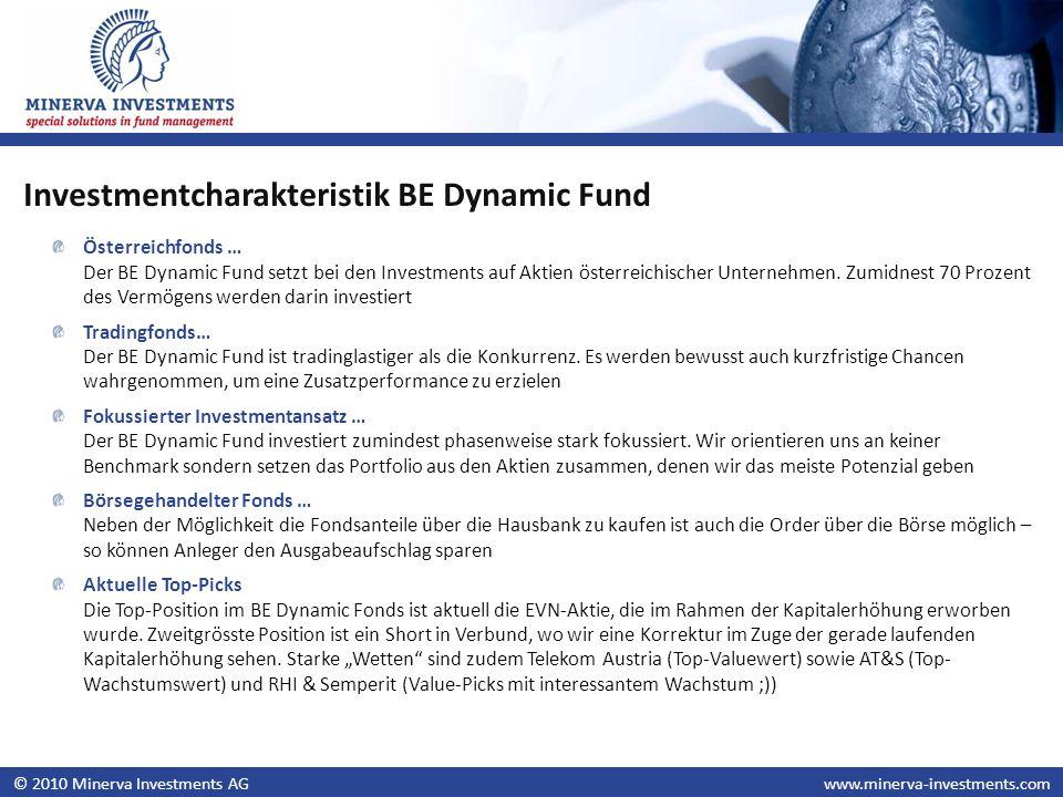 © 2010 Minerva Investments AGwww.minerva-investments.com Österreichfonds … Der BE Dynamic Fund setzt bei den Investments auf Aktien österreichischer U