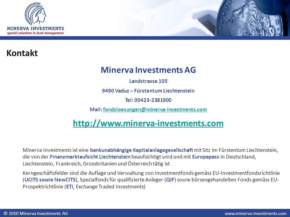 © 2010 Minerva Investments AGwww.minerva-investments.com Minerva Investments AG Landstrasse 105 9490 Vaduz – Fürstentum Liechtenstein Tel: 00423-23819
