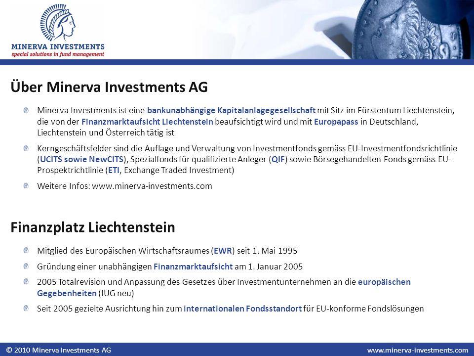 © 2010 Minerva Investments AGwww.minerva-investments.com Minerva Investments ist eine bankunabhängige Kapitalanlagegesellschaft mit Sitz im Fürstentum Liechtenstein, die von der Finanzmarktaufsicht Liechtenstein beaufsichtigt wird und mit Europapass in Deutschland, Liechtenstein und Österreich tätig ist Kerngeschäftsfelder sind die Auflage und Verwaltung von Investmentfonds gemäss EU-Investmentfondsrichtlinie (UCITS sowie NewCITS), Spezialfonds für qualifizierte Anleger (QIF) sowie Börsegehandelten Fonds gemäss EU- Prospektrichtlinie (ETI, Exchange Traded Investment) Weitere Infos: www.minerva-investments.com Über Minerva Investments AG Finanzplatz Liechtenstein Mitglied des Europäischen Wirtschaftsraumes (EWR) seit 1.