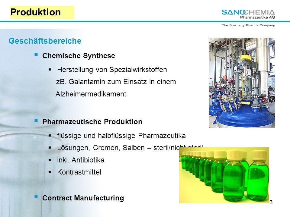 13 Geschäftsbereiche Chemische Synthese Herstellung von Spezialwirkstoffen zB.