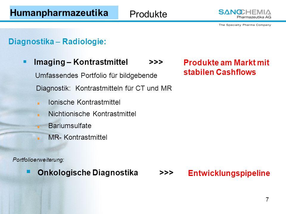 7 Diagnostika – Radiologie: Imaging – Kontrastmittel >>> Umfassendes Portfolio für bildgebende Diagnostik: Kontrastmitteln für CT und MR Ionische Kontrastmittel Nichtionische Kontrastmittel Bariumsulfate MR- Kontrastmittel Produkte am Markt mit stabilen Cashflows Onkologische Diagnostika >>> Entwicklungspipeline Portfolioerweiterung: Humanpharmazeutika Produkte